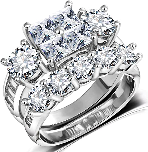 Amazon Com Princess Wedding Rings For Women Brilliant Cubic