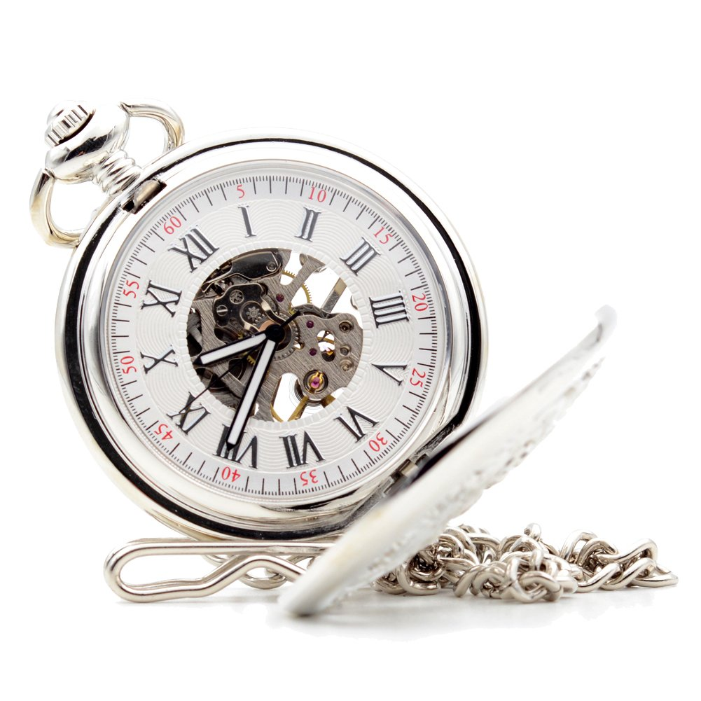 Fashion Style Silver Phoenix Dragon Hand-wind Skeleton Mechanical Pocket Watch Mens Womens M076