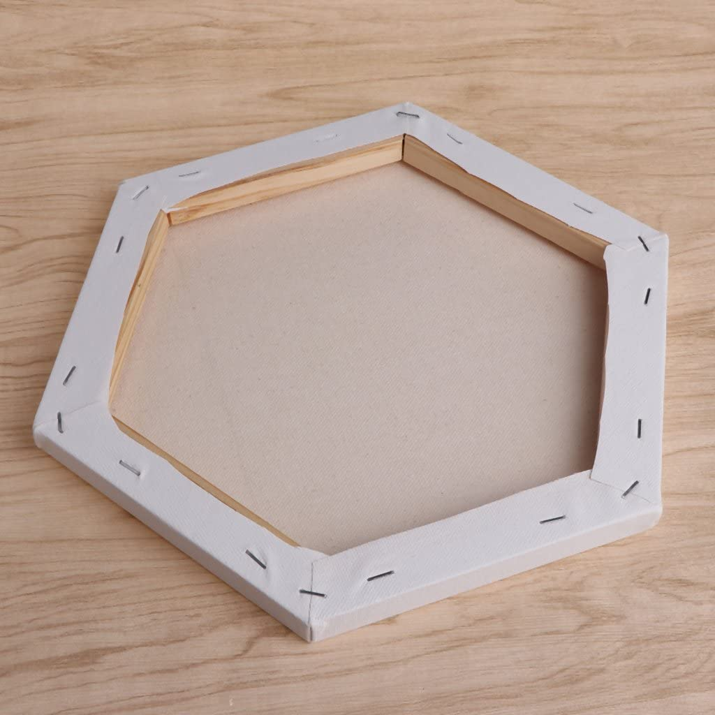 Mentin Hexagonal Acrylic Paintings Canvas Stretched Virgin Art white Framed Wooden Box Acrylic Oil Painting Canvas 30cm