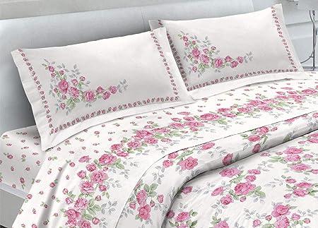 Lenzuola Matrimoniali Rosa.Biancheriaweb Completo Lenzuola In 100 Cotone Fantasia Cloe