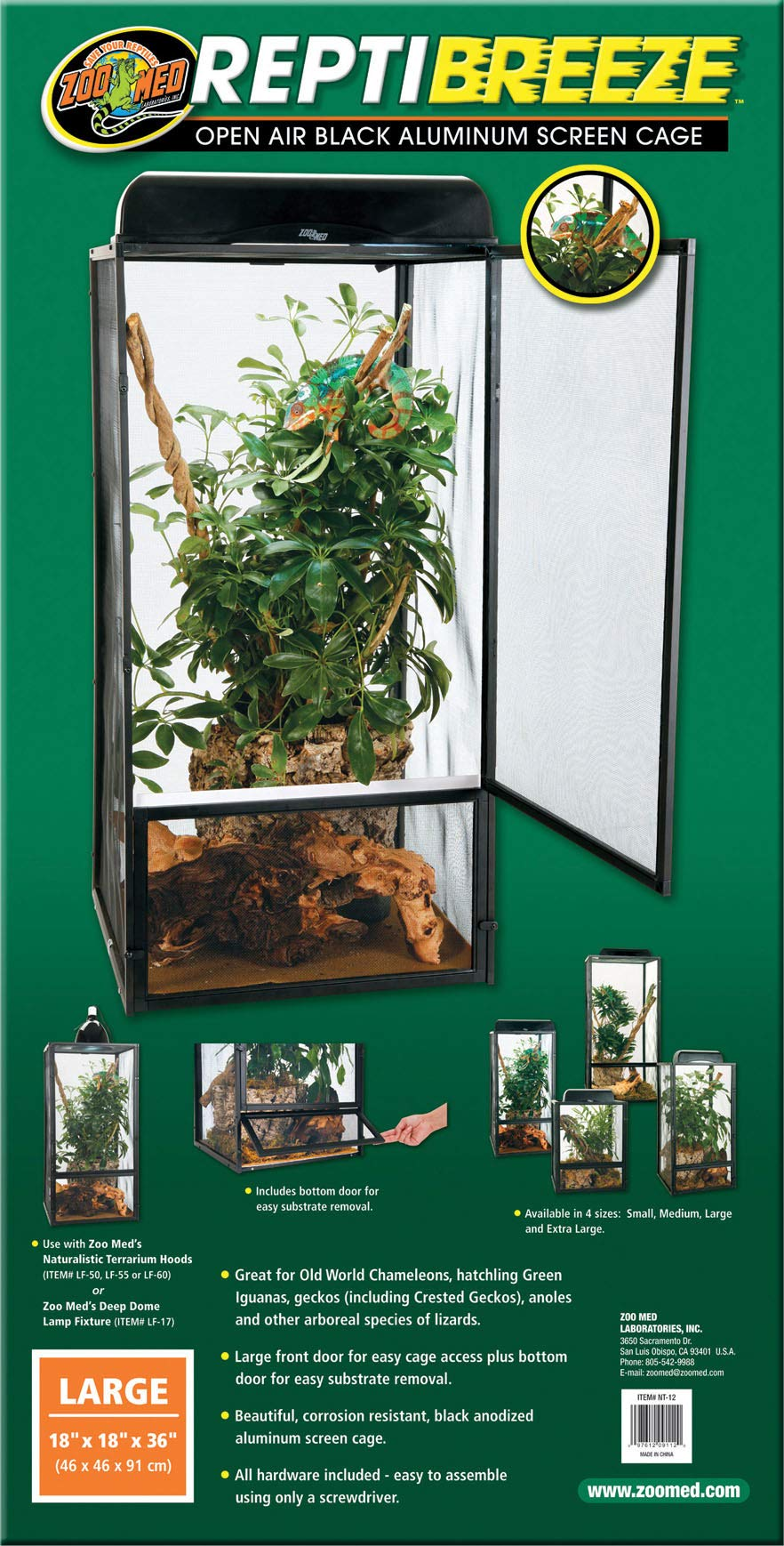 Zoo Med ReptiBreeze Open Air Screen Cage, Large, 18 x 18 x 36-Inches by Zoo Med