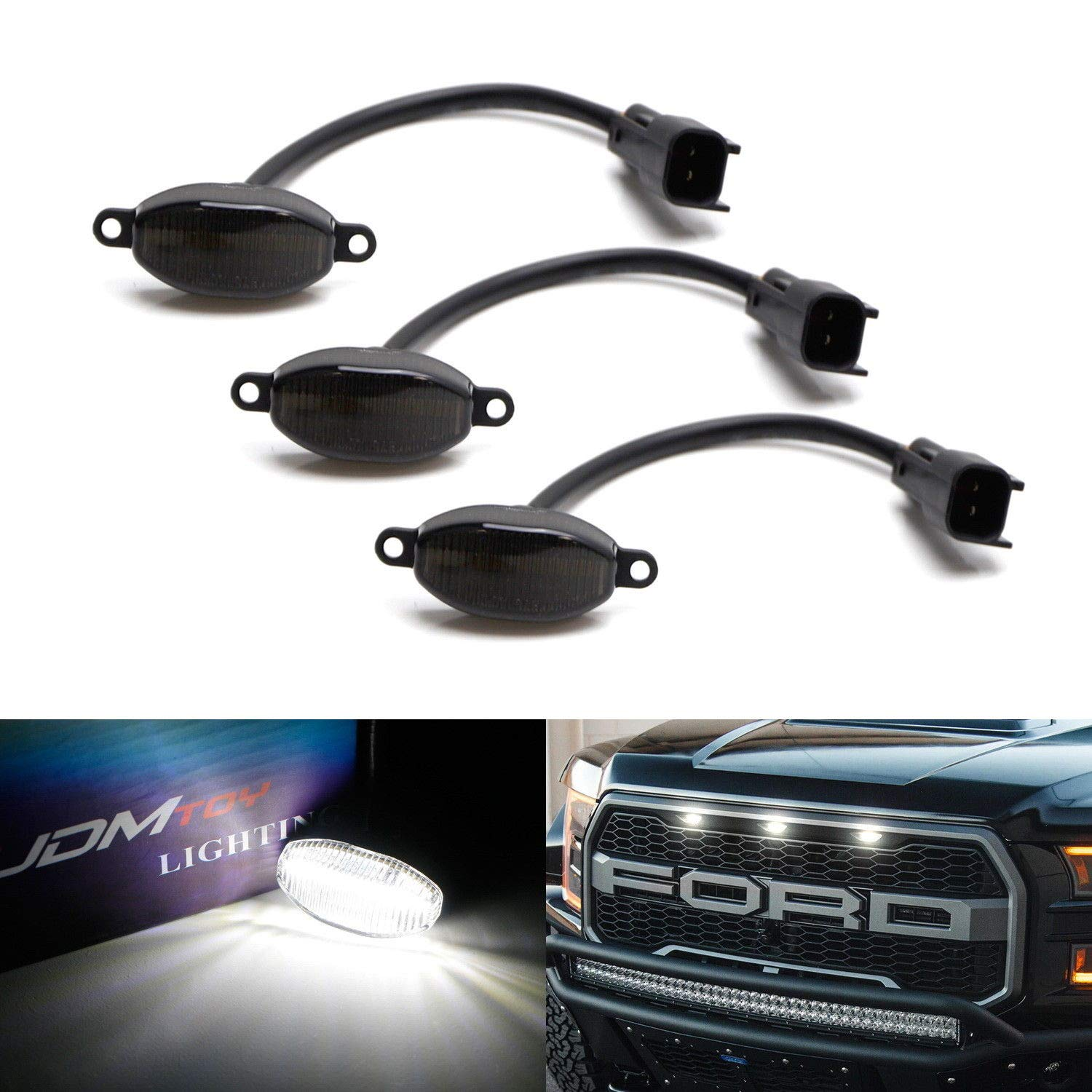 Powered by 36 Pieces of SMD LED Lights 3 Smoked Lens White LED Grille Running Lamps For 10-14 /& 17-up Ford Raptor iJDMTOY