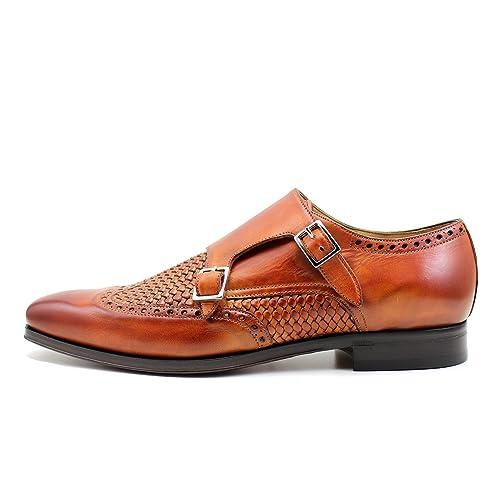 GIORGIO REA Zapatos Para Hombre Naranja Zapatos Hechos a Mano EN Italia, Hebilla, Abarcas, Mocasines, hebillas, Elegante, de Alta Costura Brogue Oxfords: ...