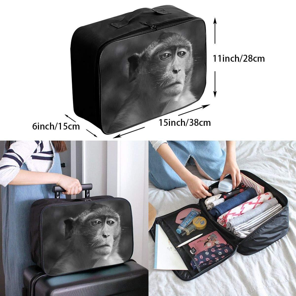 Travel Luggage Duffle Bag Lightweight Portable Handbag Sad Monkey Pattern Large Capacity Waterproof Foldable Storage Tote