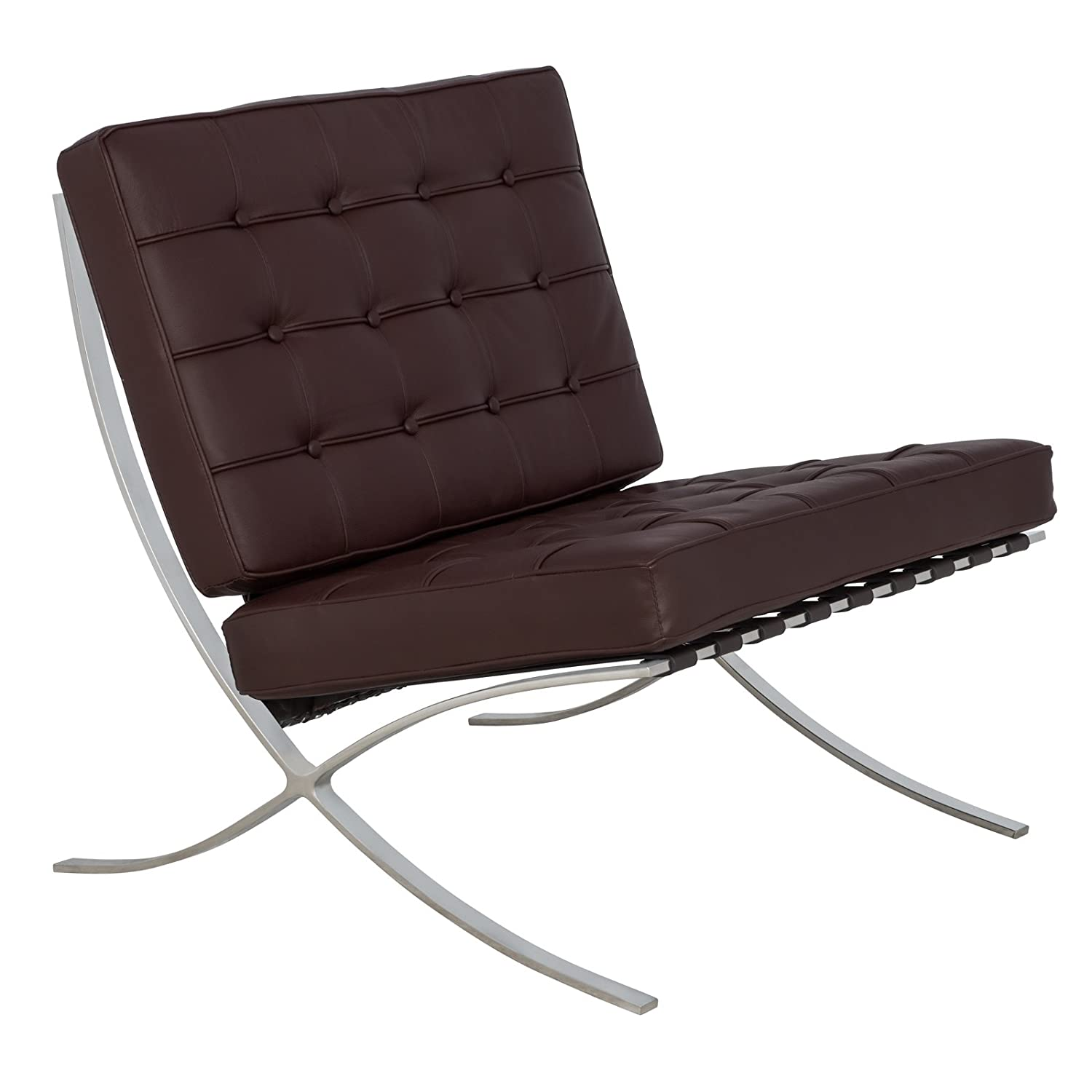 LeisureMod Bellefonte Modern Leather Pavilion Chair in Dark Brown