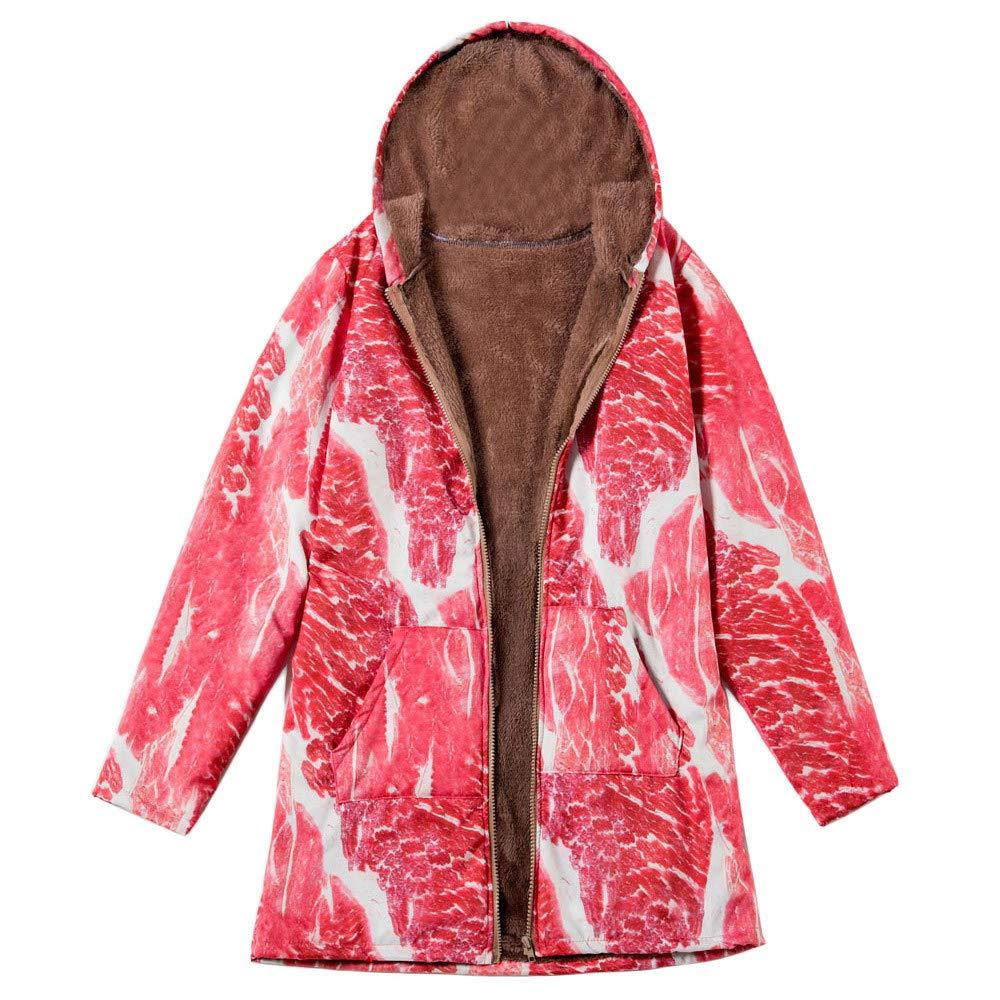Vintage Coats Women Outwear Pork Meat Print Hooded Pockets Oversize Folk-Custom Coat Litetao