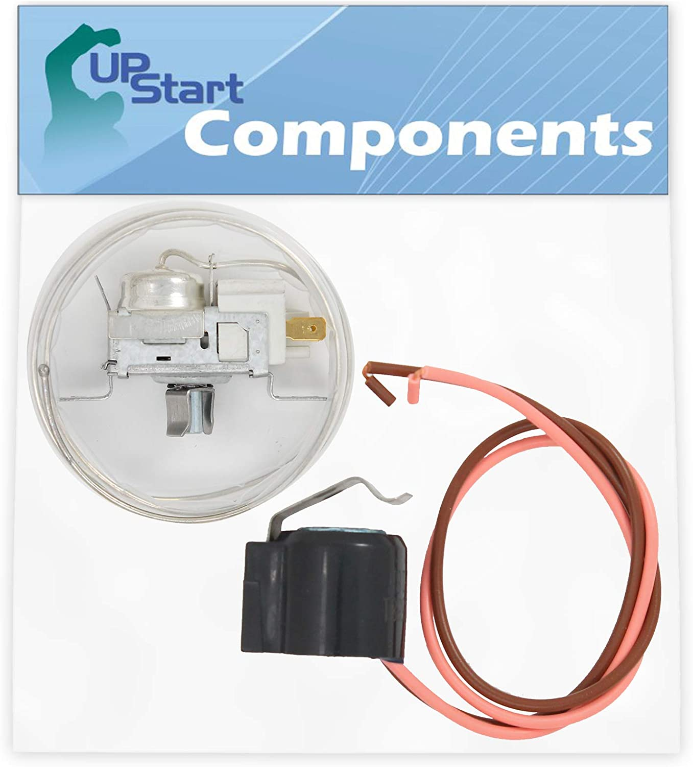 2198202 Cold Control Thermostat & W10225581 Defrost Thermostat Replacement for Whirlpool GD25SFXHS01 Refrigerator - Compatible with WP2198202 & W10225581
