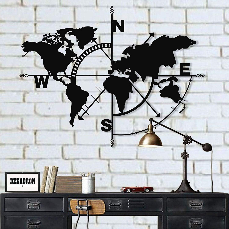 DEKADRON Metal World Map - Metal Weltkarte - 3D Wall Silhouette Metal Wall Decor Home Office Decoration Bedroom Living Room Decor Sculpture (Black, 55