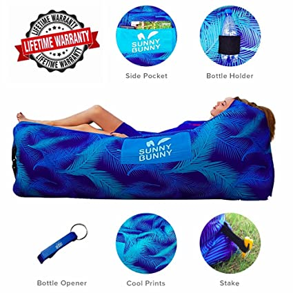 Remarkable Sunny Bunny Inflatable Lounger Chair Air Sofa Couch With Carry Bag Bottle Opener Stake Hangout Bag Ideal For Indoor And Outdoor Lazy Hammock Creativecarmelina Interior Chair Design Creativecarmelinacom