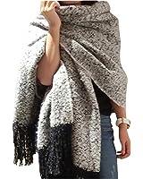 Minetom Femme Echarpe Carreaux Tassel Châle Cape Automne Hiver Chaud Noir Blanc