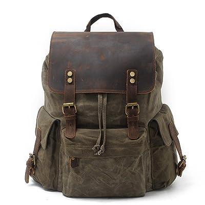 SUVOM Vintage Canvas Genuine Leather Laptop Backpack