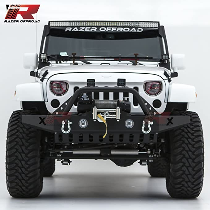 Razer Auto Black Textured Rock Crawler Front Bumper With Skid Plate, Fog Lights Hole &Amp; 2x D Ring &Amp; Winch Plate (Black) For 07 18 Jeep Wrangler Jk by Razer Auto