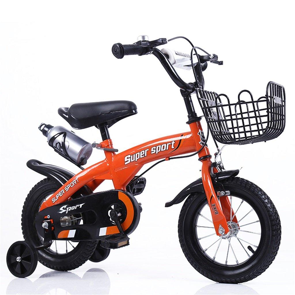 子供の自転車12|14|16|18インチ屋外の子供赤ちゃんキッドマウンテンバイク黒のトレーニングホイールで3-9歳の男の子の女の子のギフト|アイアンバスケット|ウォーターボトルセーフオレンジ B078GMB3T8 14 inches