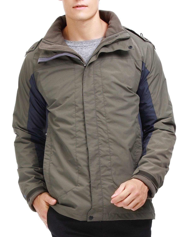 puredown Men's 3-in-1 Outdoor Winter Coat Waterproof Hooded Jacket With Fleece Liner, Army Green, XXL Size