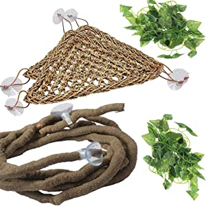 PINVNBY Bearded Dragon Tank Accessories Hermit Crab Climbing Toys Leopard Gecko Hammock Lizard Lounger Vines Flexible Leaves Habitat Decor with Suction Cups for Chameleon,Reptile,Snakes