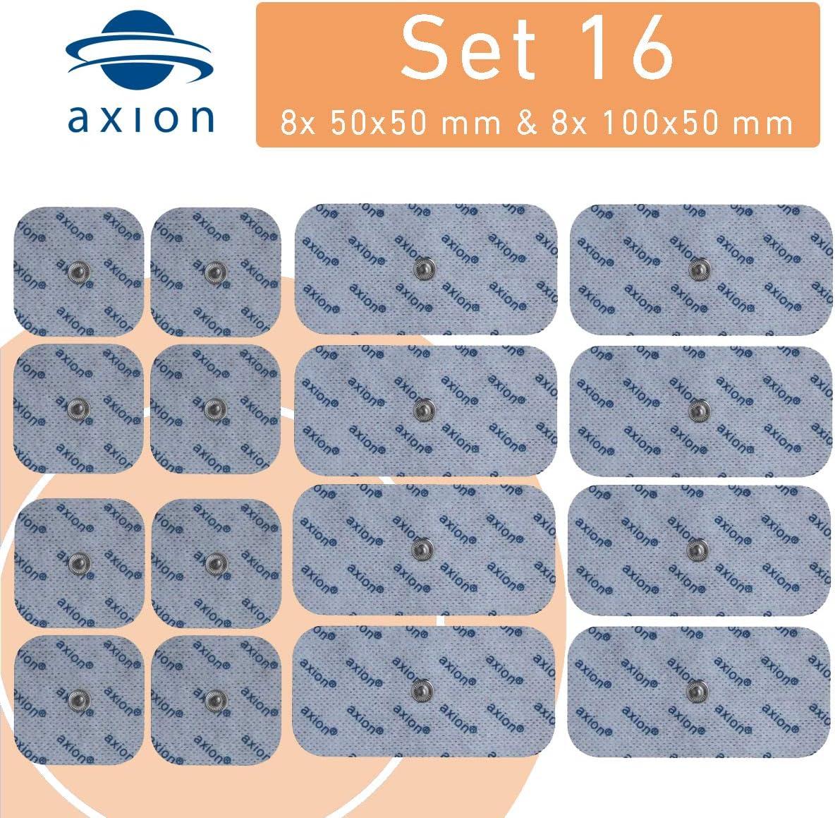 16 Electrodos de 5x5 cm y 10x5 cm - para su aparato TENS EMS electroestimulador VITALCONTROL & Beurer - axion