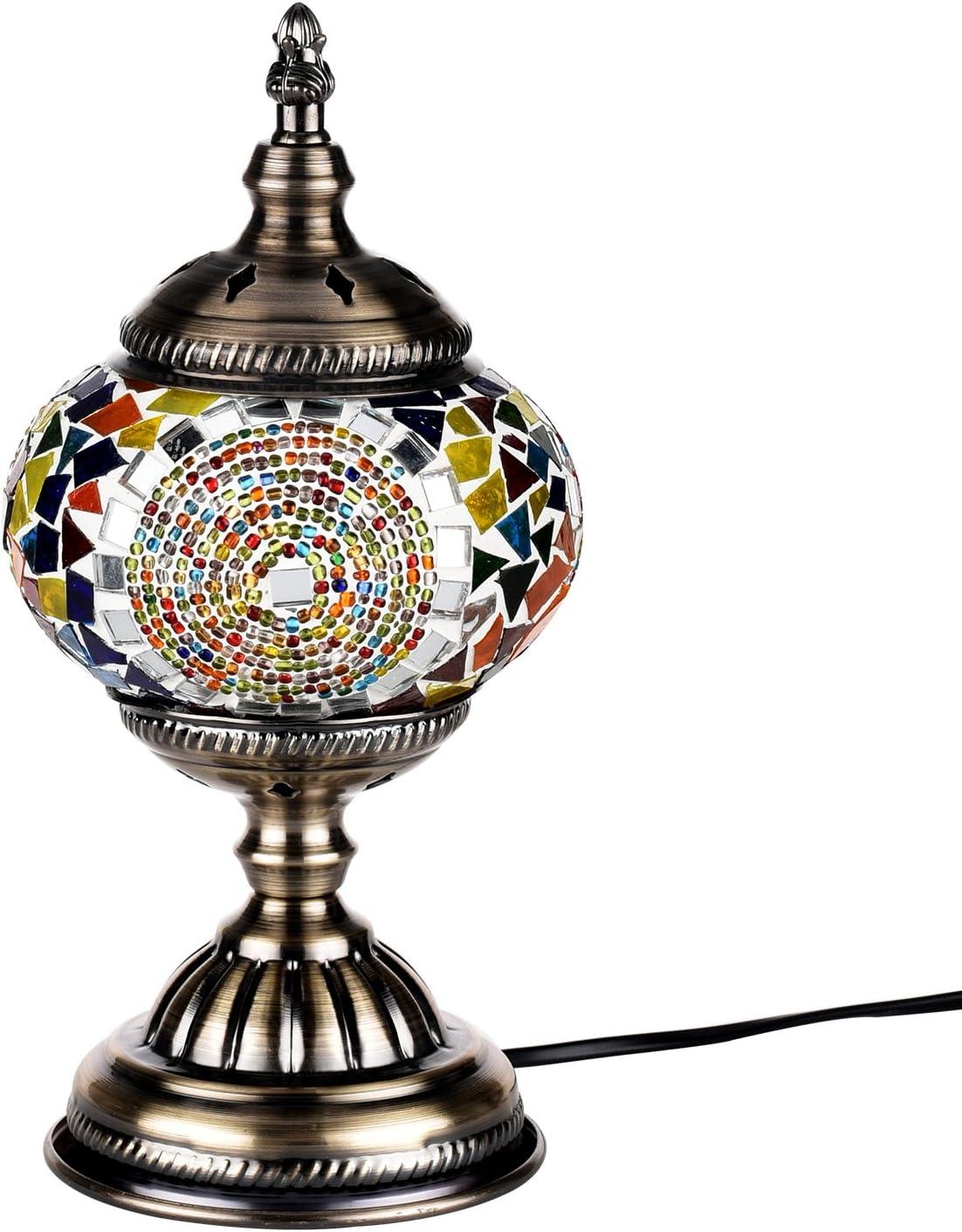 Lampada Turca da Tavolo Mosaico di Vetro per Comodino Vintage da Decorare Bronze Base Blu Fatta a mano