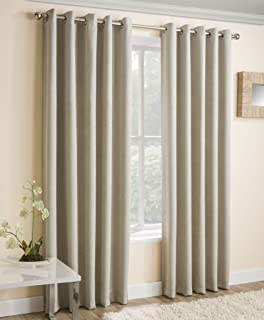 Cream Textured Thermal Blockout Eyelet Ring Top Curtains 90 X 108 229 Cm