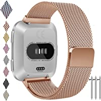 for Fitbit Versa Band, Vancle Small Large Size Adjustable Replacement Watch Bands Metal Wristband Bracelet Straps with Magnetic Closure Clasp for Fitbit Versa Fitness Smart Watch Women Men