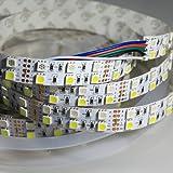 Alarmpore (TM) 16.4FT Double Row 5050 RGBW RGB White LED Strip 5M 600Leds SMD Flexible Light 120Leds/M 12V DC Non-waterproof