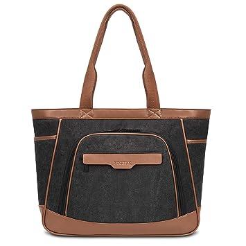 FOSTAK Mujer Tote Bag Bolso de Hombro multifuncional para portátil Maletín Bolsa de Viaje Shopper portátil / Bolsa de negocios de 15,6 pulgadas para ...