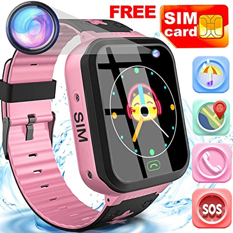 Girls Watch Kids Toy 3-12 Girl Gift Smart Watch GPS Tracker -Free SIM Card Touchscreen Phone Watch Waterproof Sport Watch Kids Electronic Learning ...