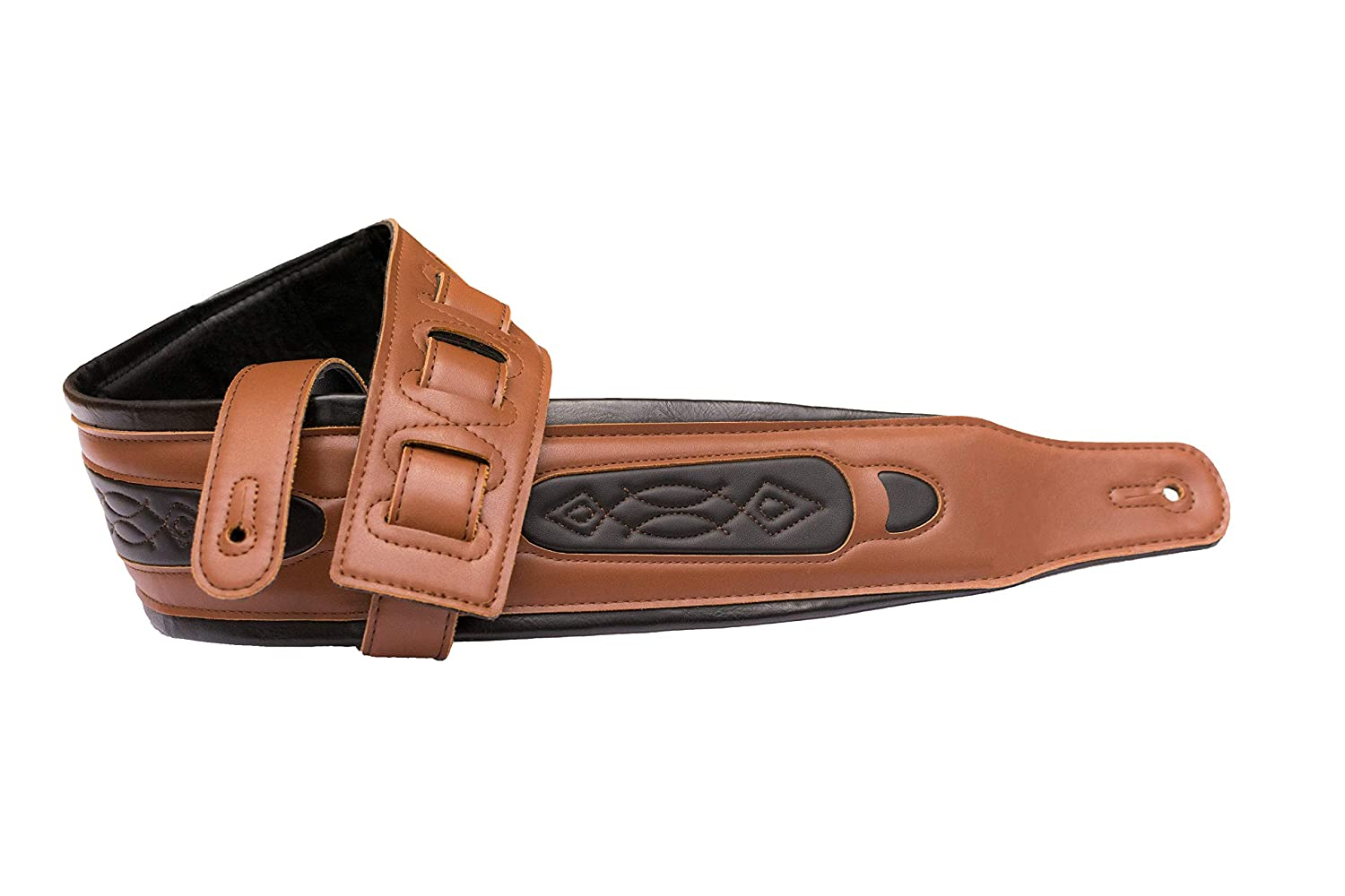 Leather Guitar Strap with Wide 3.25 Inch Padded Support for Acoustic Vintage Brown and Black Tone with Comfort Fit Length Bass and Electric Guitars