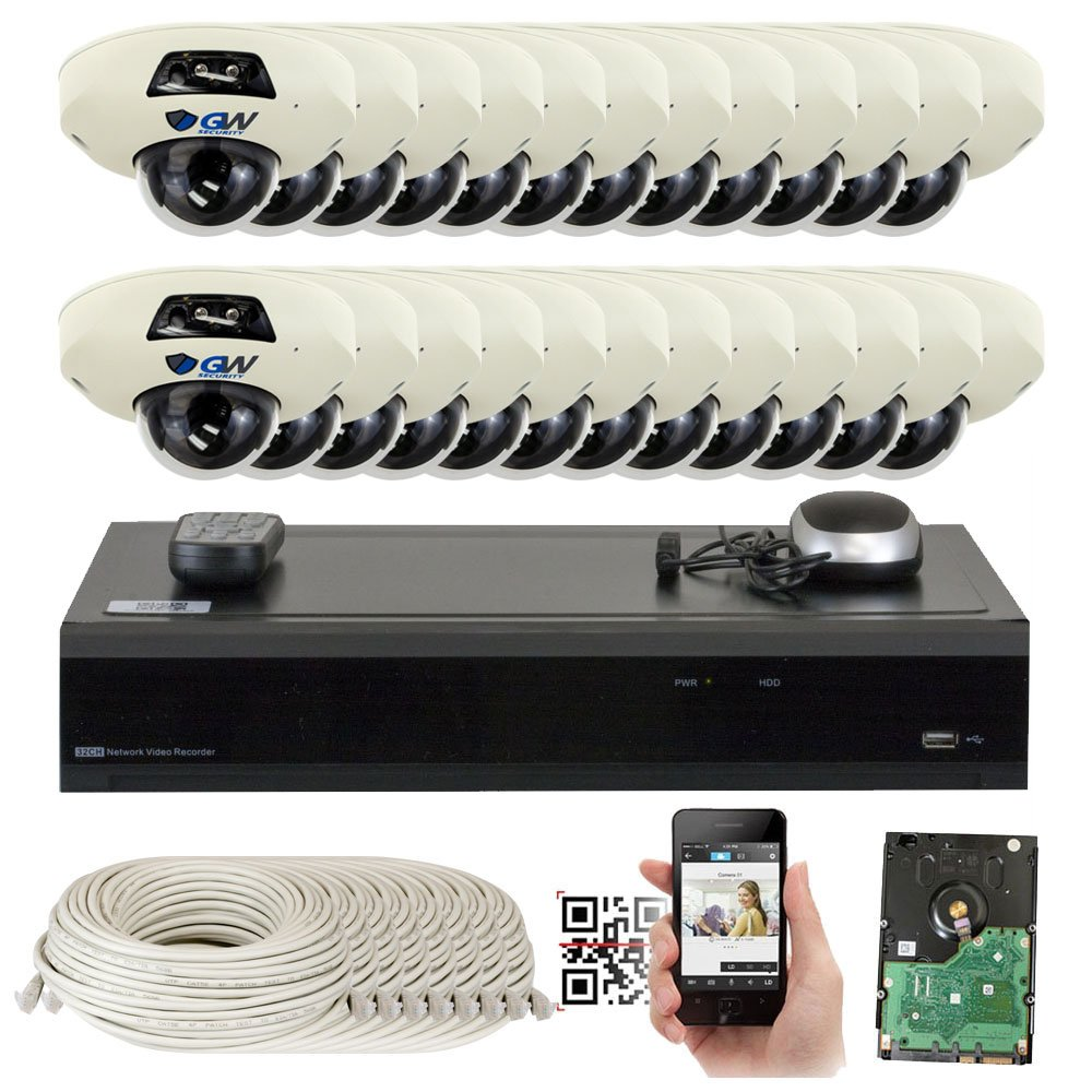 GW Security 5-Megapixel 32 Channel PoE 4K NVR Security Camera System – 24 5MP Video Audio Surveillance Weatherproof Microphone IP PoE Dome Cameras, 1.9mm 160 Super Wide Angle Lens