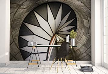 Papel Tapiz Fotomural - Pared De Piedra Escalera De Caracol Decorativo - Tema Arquitectura - L - 254cm x 184cm (