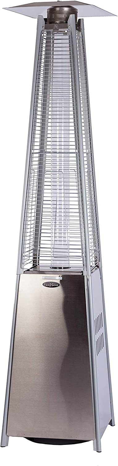 Fire Sense Stainless Steel Pyramid Flame Heater with Wheels | Beautiful Tall Flame | Uses 20 Pound Propane Tank | 40,000 BTU Output | Portable Outdoor and Patio Heat Lamp