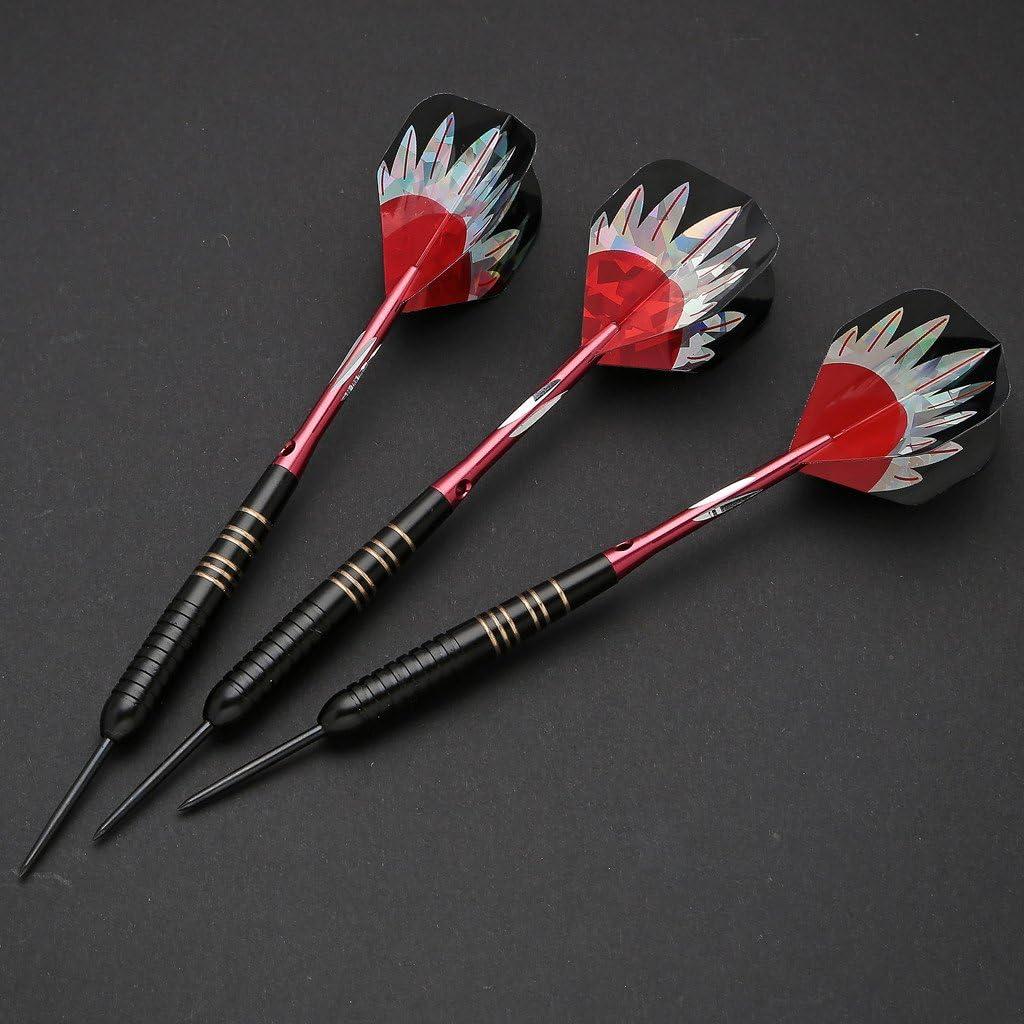 Dardos, juego de dardos de acero, 3 piezas de dardos con punta de acero con estuche rígido - Barriles de latón recubiertos de negro