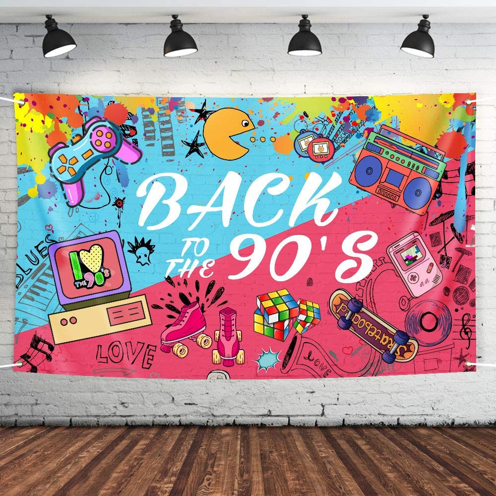 90'S Theme Party Supplies, Fabric Banner for Back to The 90's Photo Prop Backdrop Wall Hanger Home Décor Hip Hop Style Background for Party Photo Booth Kit, Indoor Outdoor Decoration 74.8 x 45 Inch