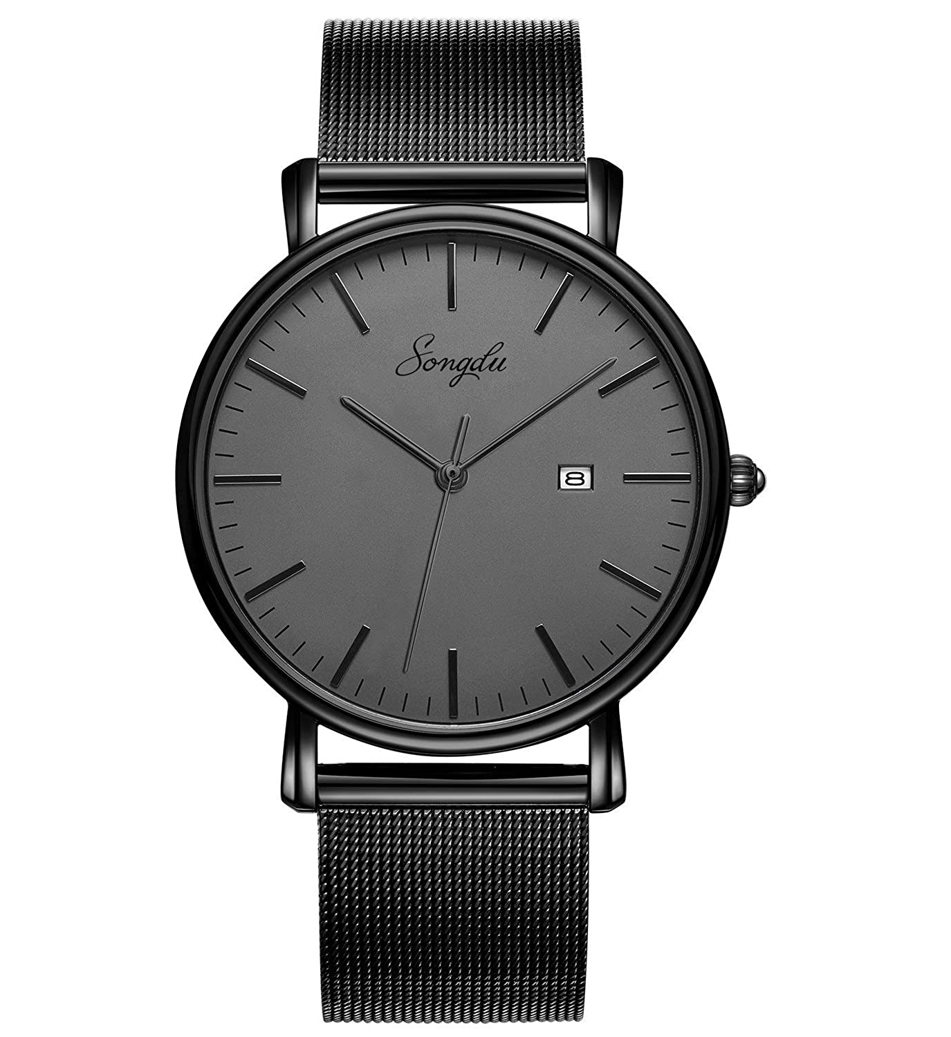 833b7b6545538 SONGDU Men's Fashion Date Slim Analog Quartz Watches Grey Dial with  Stainless Steel Black Mesh Band