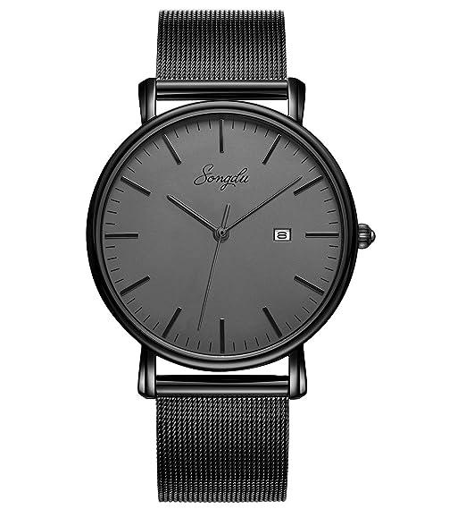 Amazon.com: SONGDU - Reloj analógico de cuarzo para hombre ...