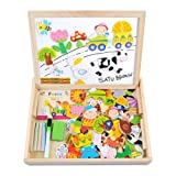 Wooden Toy Magnetic Dry Erase Board Puzzles 100 Pieces Games, Satu Brown Double Face Jigsaw& Drawing Easel Chalkboard Popular Educational Learning Toys (Farm)