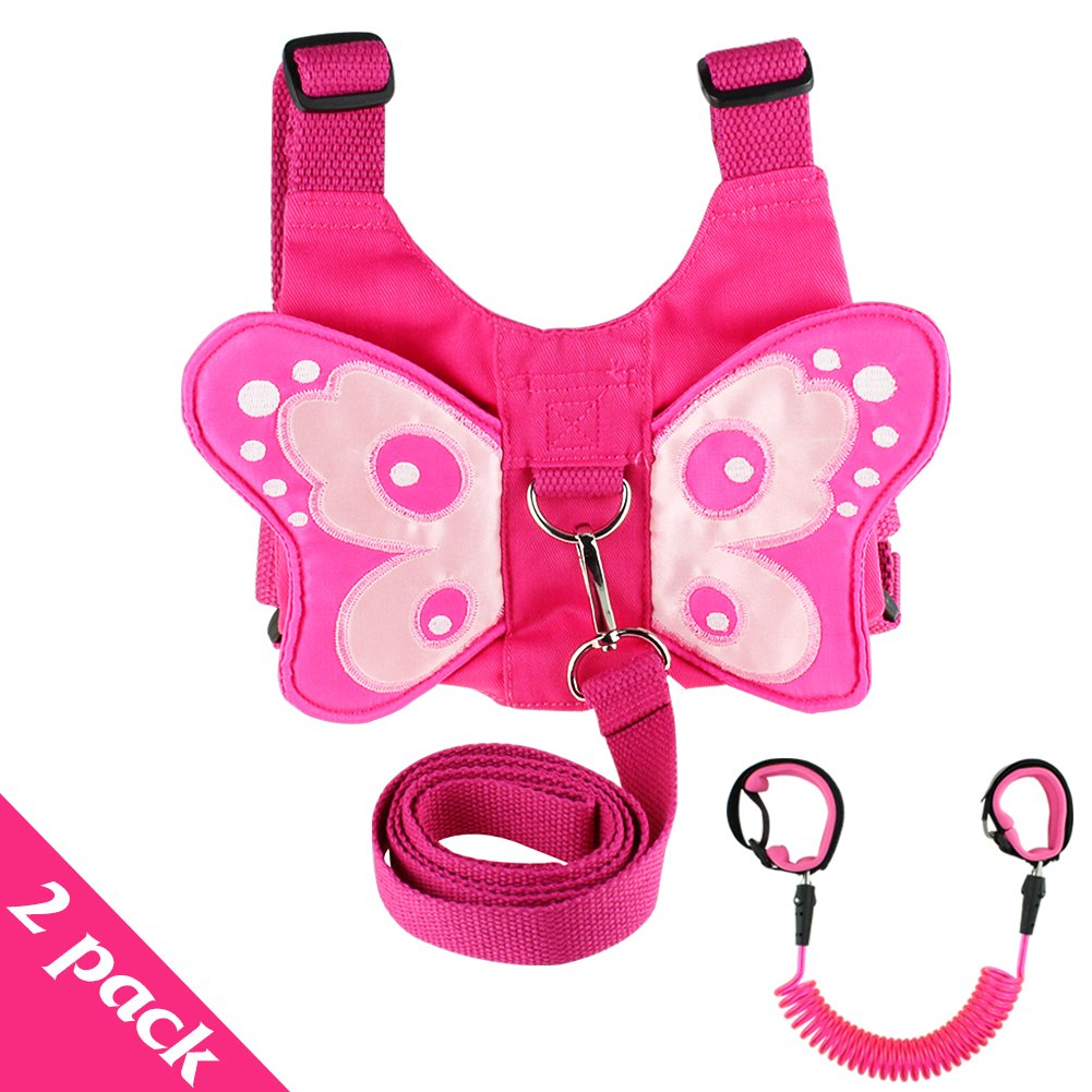 2 Pack Baby Child Anti Lost Wrist Leash Butterfly Safety Harness Backpack Walking Hand Belt Band Wristband for Toddlers, Kids - Pink