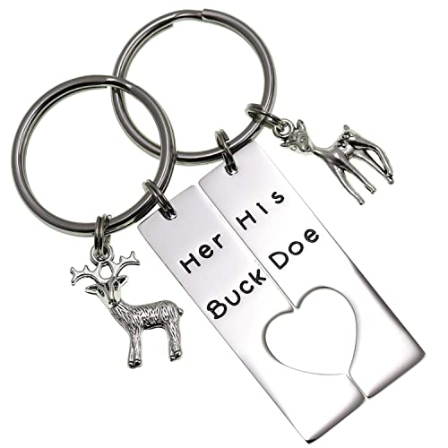 Image Unavailable. Image not available for. Color  LParkin Her Buck His Doe  Heart Keychains Hunting Gifts for Men Wedding Deer Couples Boyfriend  Girlfriend e717a1e15