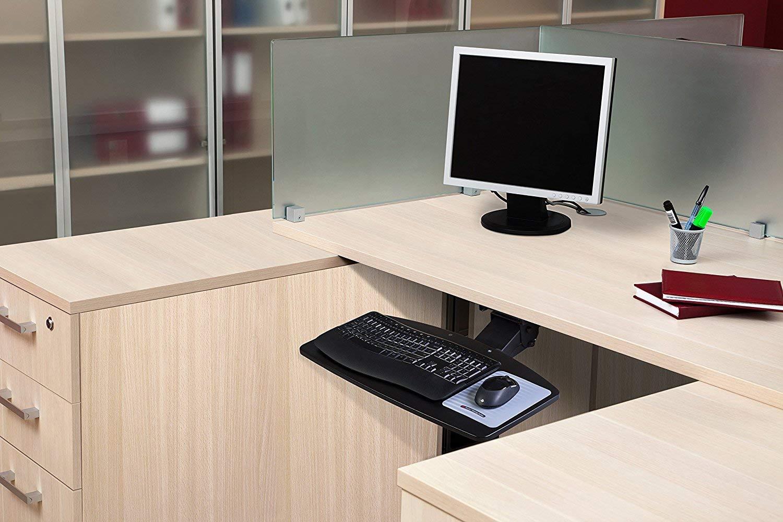 Adjustable Under Desk Keyboard Tray by NYCCO, Water-Resistant Platform, 17-inch Track Knob Adjust - Black by NYCCO (Image #4)