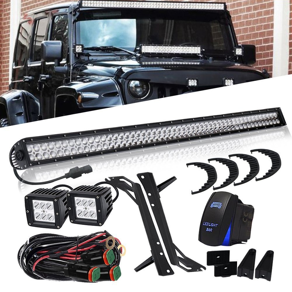 52 Inch Led Light Bar 4inch Fog Lamp Wiring Harness Fit 2007 2015 For Jeep Wrangler