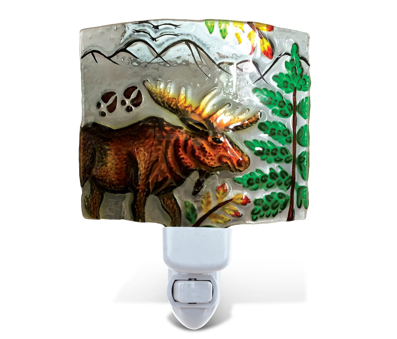 Puzzled Nightlight - Moose Handcraft Art Glass and Metal Decorative Night Light Home Décor - Animal / Zoo Animals Theme - Elegant Unique Gift and Useful Souvenir - Item #9748
