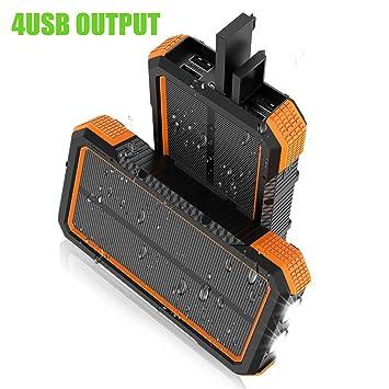 X-DRAGON Cargador Solar 25000mAh Banco de Energía Solar a Prueba de Agua con 5 Puertos de Salida, Entrada Doble (USB C y Micro), Linterna Dual, ...