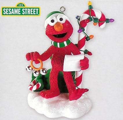 carlton cards heirloom sesame street elmo christmas ornament with sound