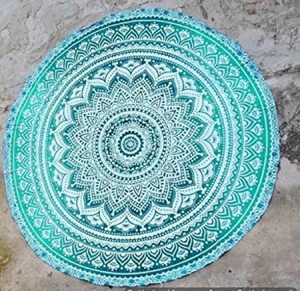 Bestry Hippie Mandala Tapestry Round Bohemian Beach Blanket Wall Hanging for Bedroom Dorm Throws Table Cloth