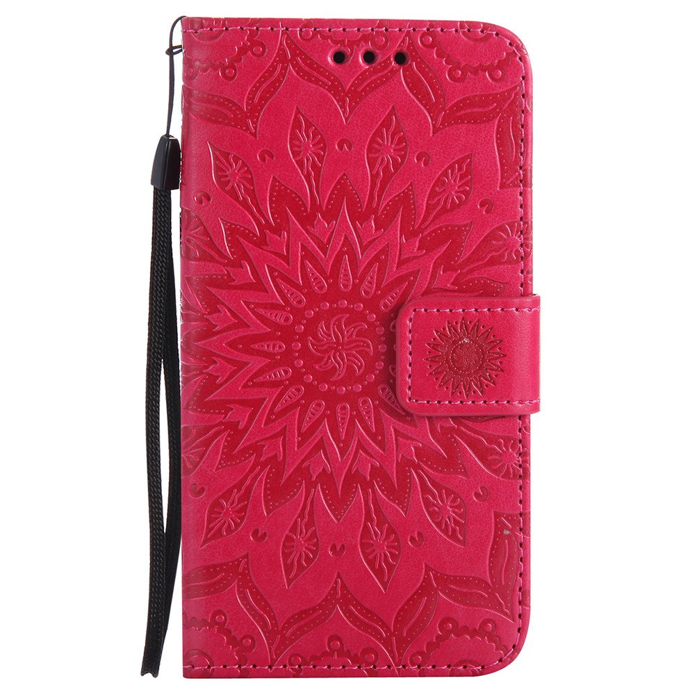 Samsung Galaxy A5 2017 Case Cover EMAXELER Stylish Wallet 3D Embossed Kickstand Flip Sun flower Three dimensional Cards Slot Cash Pockets PU Leather ...