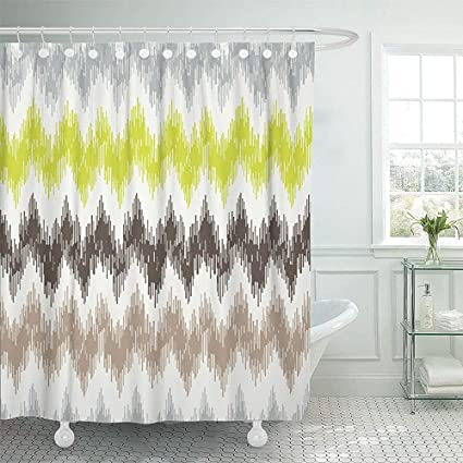 Starookc Shower Curtain 72quotx72quot Polyester Fabric Colorful Chevron With Zig Zag 2 Ikat