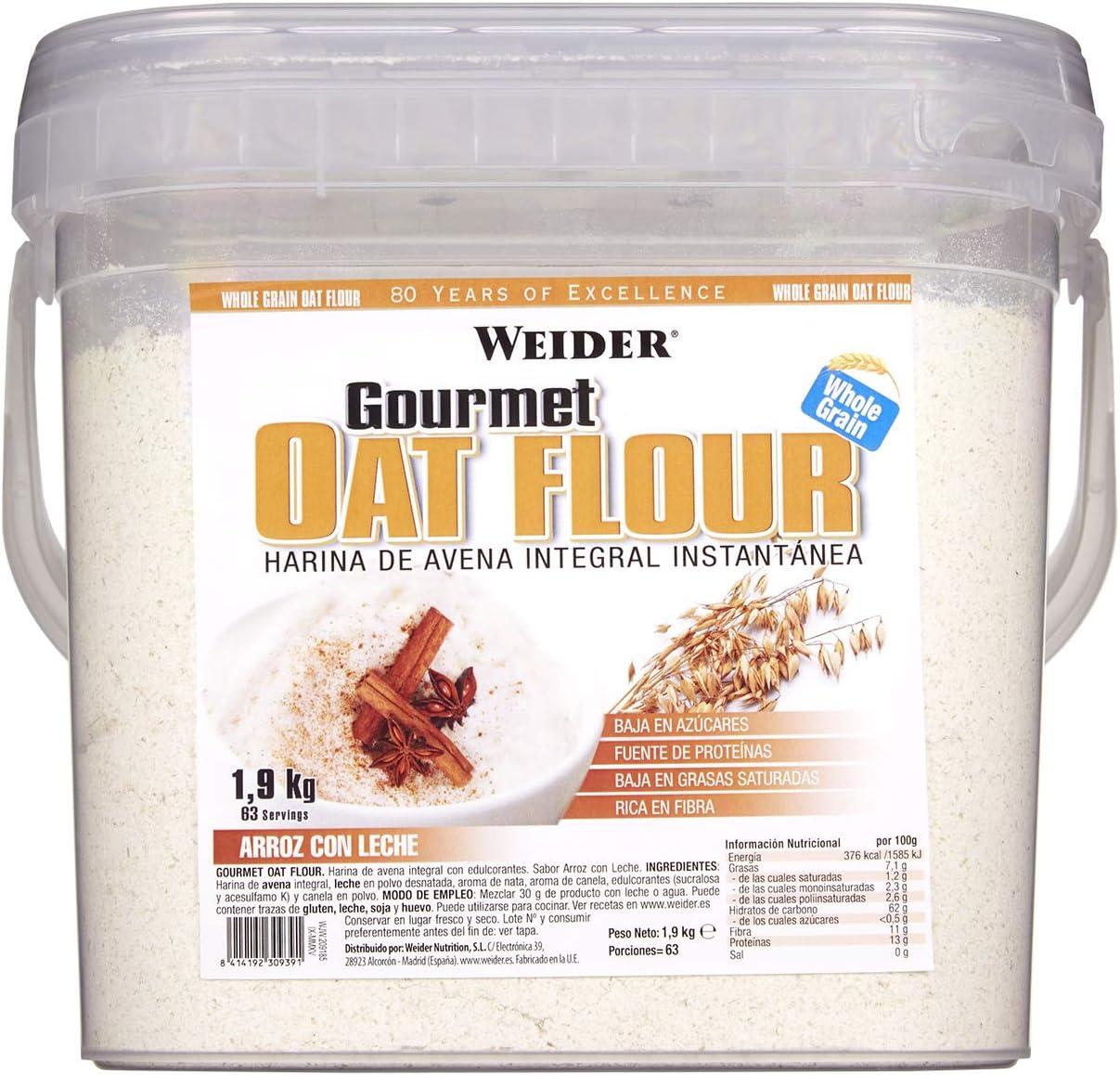 Weider Oat Gourmet. Harina de Avena Integral. Fuente de proteína con bajo contenido en azúcares. Sabor Arroz con Leche (1,9 kg): Amazon.es: Salud y cuidado personal