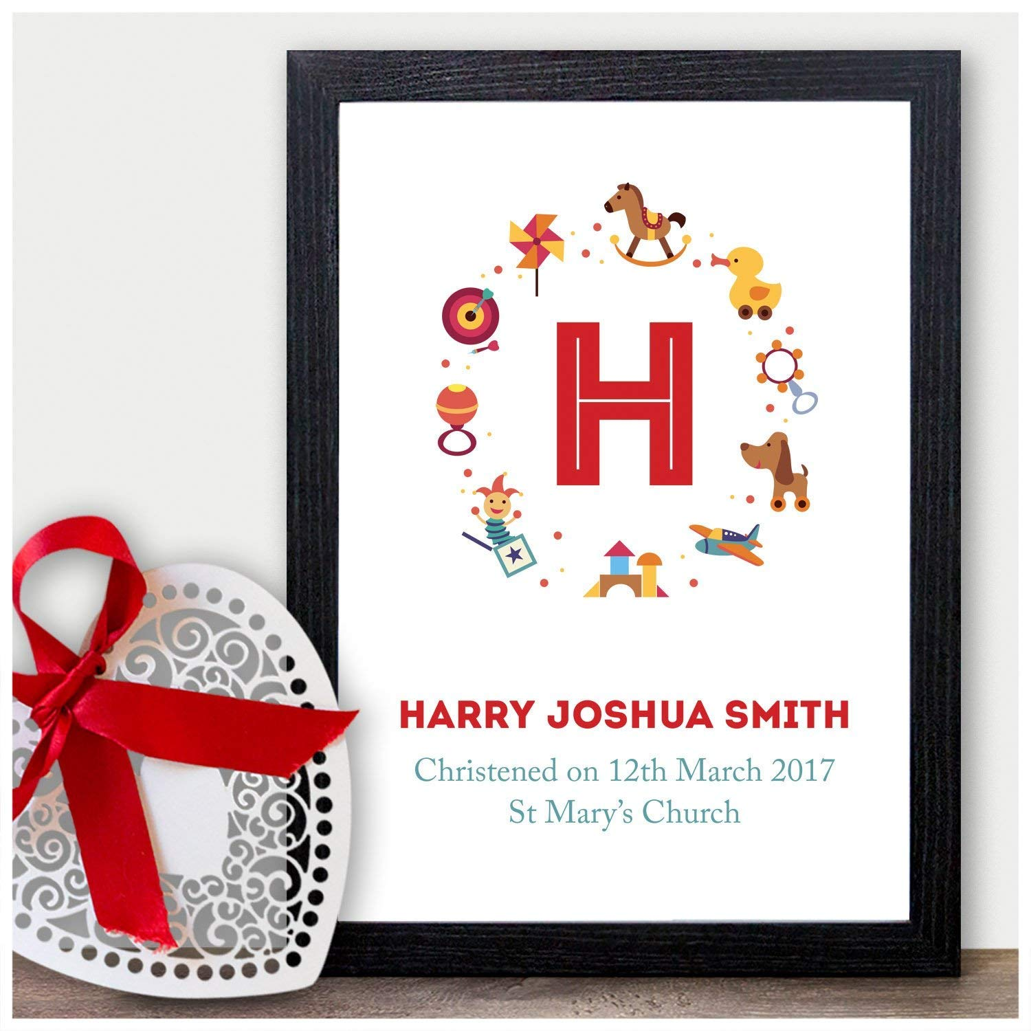 A3 Prints and Frames Wooden Blocks A5 Christening Baptism Naming Day Gifts for Baby Boys Girls Personalised Godchild Grandchild Gifts A4 Handmade Custom Christening Gifts for Baby Girls Boys