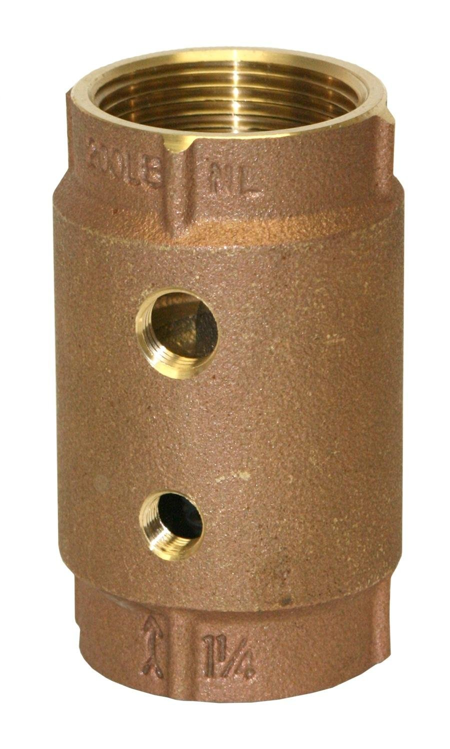 "Merrill MFG CVRTNL1252 Side Tapped No Lead Brass Check Valve, No Spin Poppet, 2 Tapping's, 1-1/4"" Pipe Size, 3.63"""