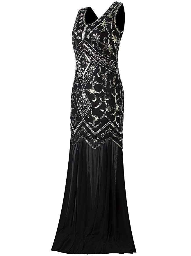 Vijiv Women 1920s Evening Gown Flapper Style 20s Art Deco Long