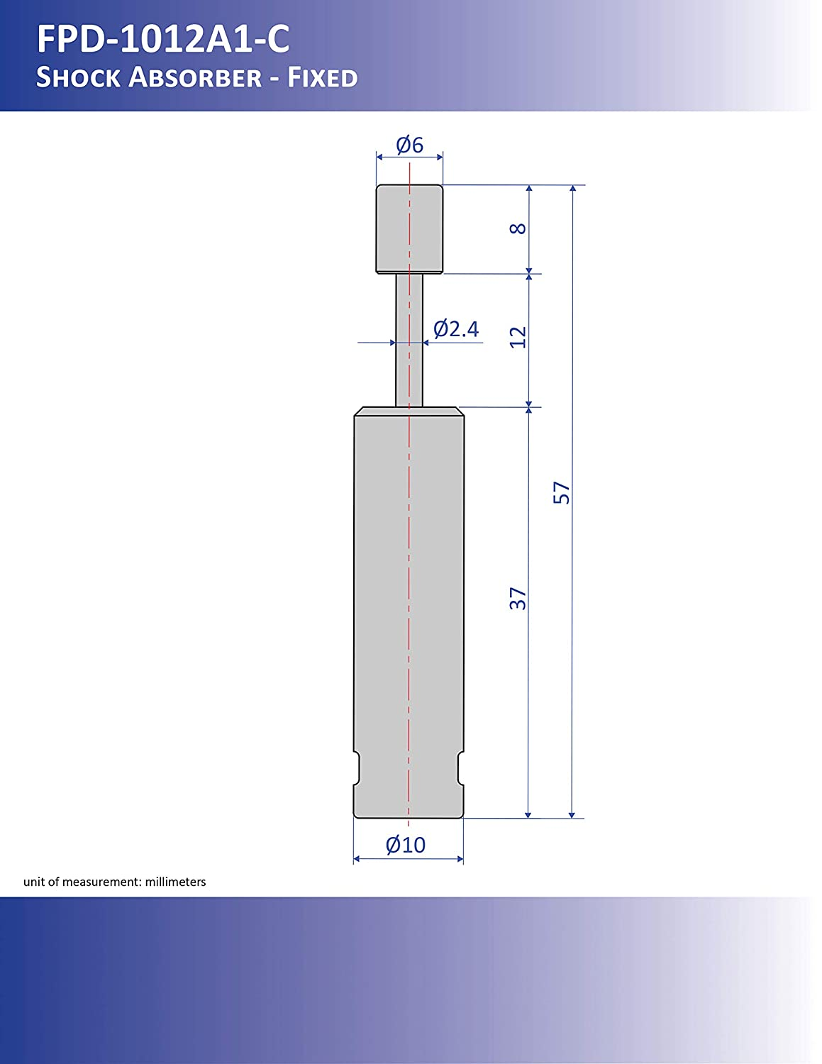 57 mm x 10 mm x 6 mm Bansbach Easylift FPD-1012A1-CB Shock Absorbers//Linear Dampers